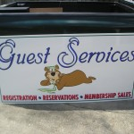 Street View Aluminum Signs, Yogi The Bear Guest Services Image - Greater Baton Rouge Signs