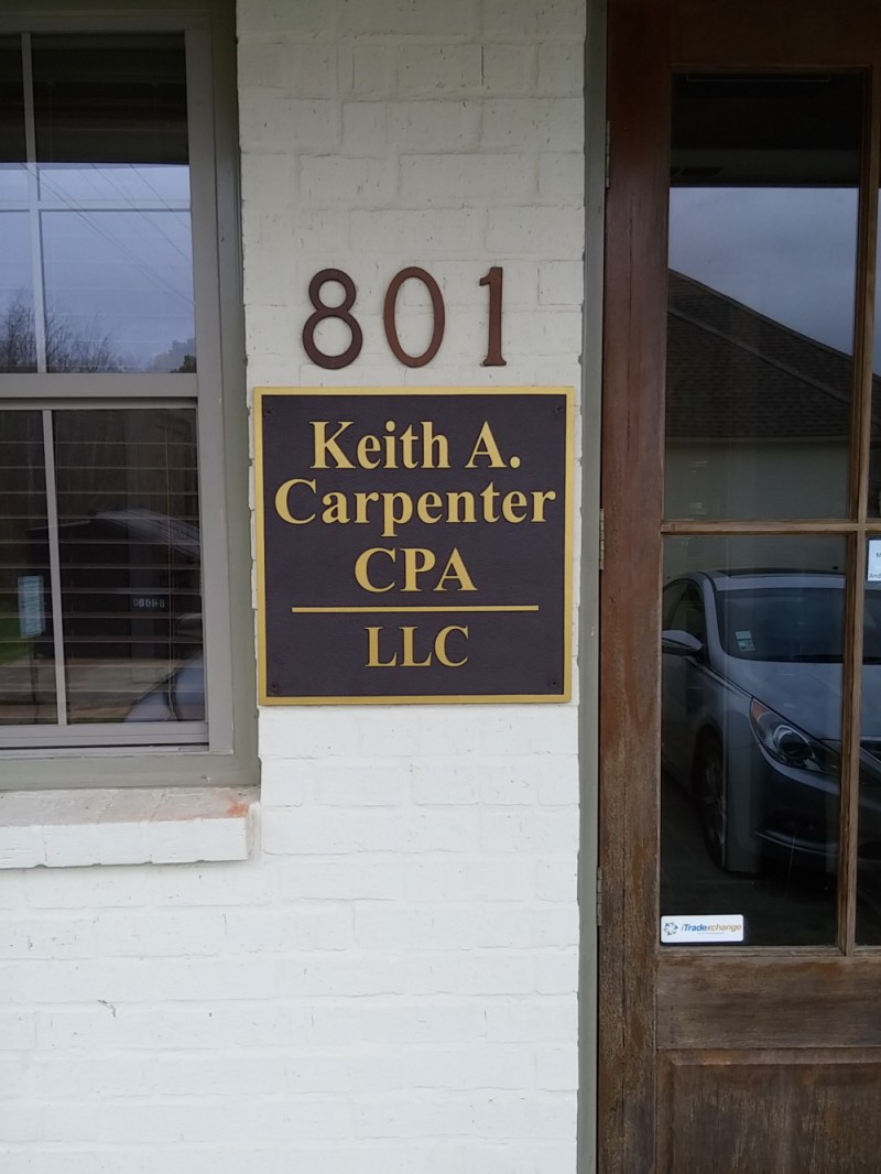 Keith Carpenter CPA Faux Bronze Plaques - Greater Baton Rouge Signs